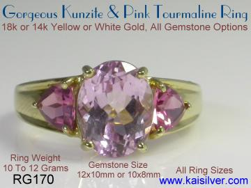 Kunzite gemstone ring
