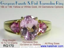 kunzite pink tourmaline gemstone ring