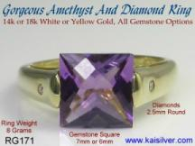 diamond amethyst gem stone ring