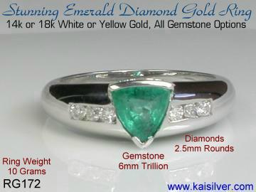 emerald diamond ring yellow or white gold with diamonds