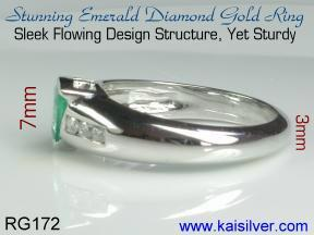 emerald diamond gold rings
