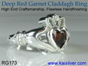 irish Cladagh garnet ring