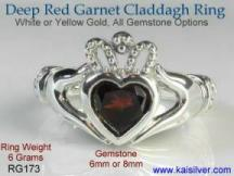 antique garnet silver ring, the irish claddagh with red garnet gem stone
