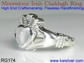 Irish celtic rings, moonstone claddagh ring