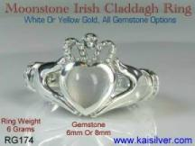 Irish rings, celtic claddah moonstone rings