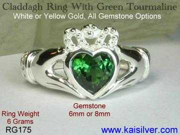 cladagh green tourmaline ring