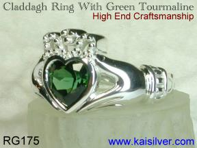 green tourmaline Irish claddagh ring