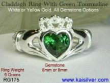 irish gemstone claddagh rings, tourmaline