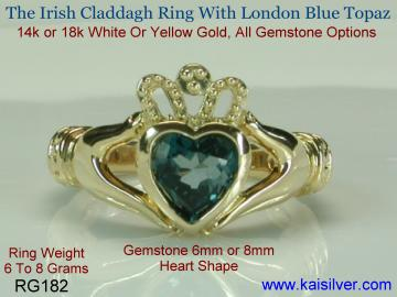 Claddah Irish ring with London Blue Topaz Gemstone