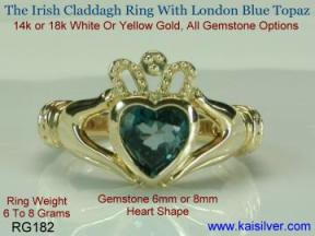 London blue topaz caladdagh ring