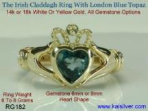 Irish rings, the claddah ring with london blue topaz gemstone