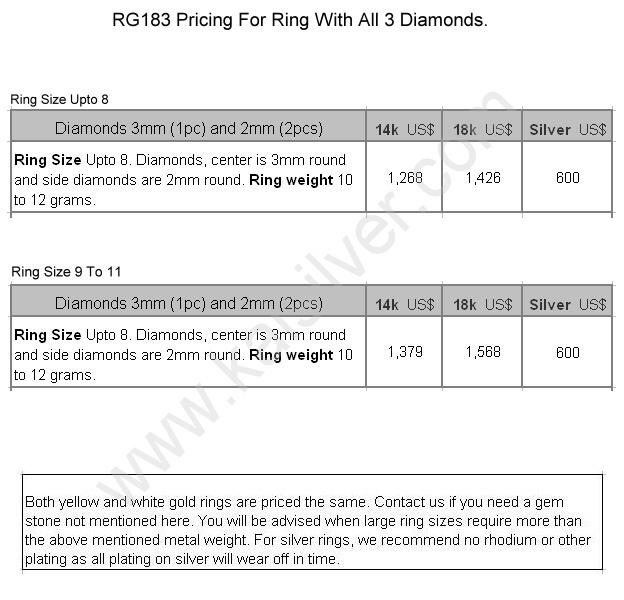 rg183 Kaisilver three diamond ring