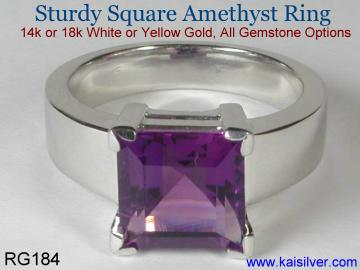 white gold amethyst man ring with square amethyst gem stone