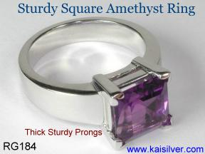 Amethyst birthstone ring for February, also the birth stone for Aquarius