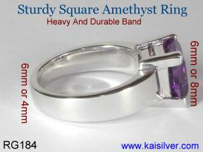 man gemstone band with Amethyst gemstone