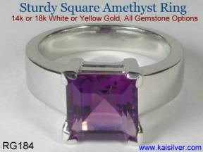 Man gemstone wedding band with square amethyst