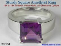 man amethyst gemstone ring with square amethyst gem stone
