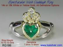 The ancient Irish claddagh ring with emerald gemstone and diamond
