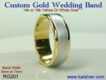 custom wedding bands, white gold or yellow gold and two tone gold available