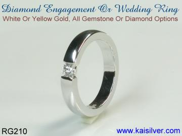 Diamond engagement ring white gold or yellow gold