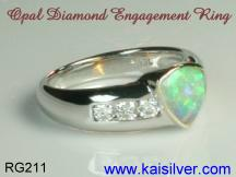 this opal ring with diamonds, is custom made in white gold or yellow gold
