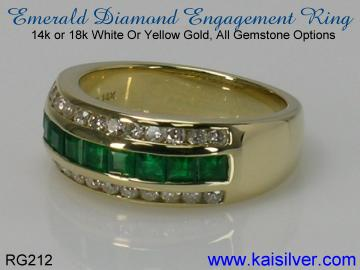 diamond emerald engagement rings in white or yellow gold