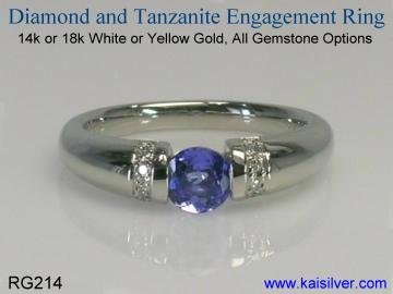 tanzanite engagement ring with diamond - Tanzanite Wedding Rings