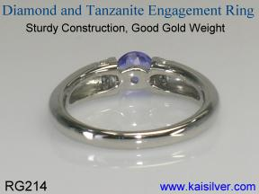 custom engagement rings, tanzanite gem stone and diamond