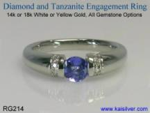 elegant white gold tanzanite gem stone ring, made to order