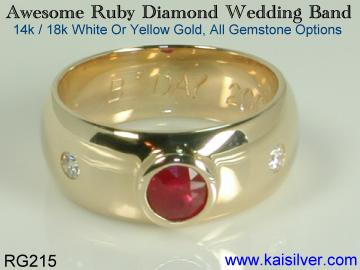ruby wedding band with diamond