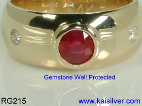 round ruby gem stone wedding band