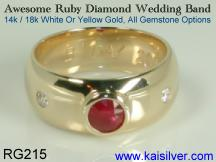 man wedding band with ruby gem stone