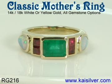 emerald ruby and white opal ring, gold emerald rings made to order