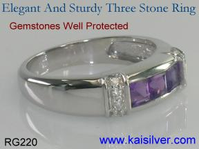 custom three stone ring