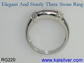 sterling silver ring with 3 gems