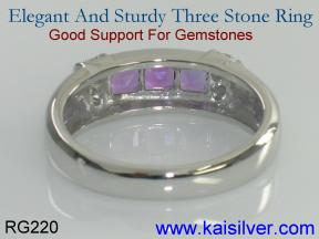 three gem stone band ring