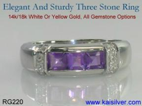band ring with many gem stones