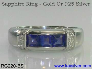 sapphire white or yellow gold ring kaisilver