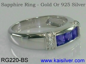 blue sapphire ring gold or 925 silver
