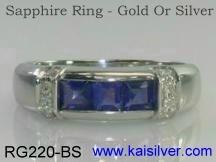 three sapphire gemstone ring