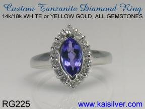 tanzanite diamond bridal ring