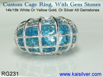 cage ring, white gold cage ring made to order