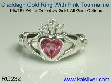 pink tourmaline claddagh diamond ring