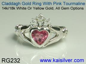 pink tourmaline heart ring