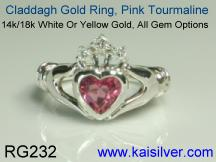 pink tourmaline claddagh ring