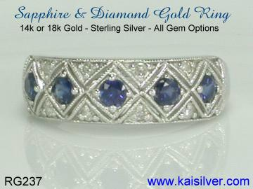 sapphire and diamond gold rings, made to order sapphire ring