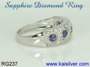 sapphire gold ring with diamonds, 14k or 18k sapphire rings