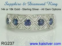 sapphire and diamond 14k or 18k gold sapphire rings