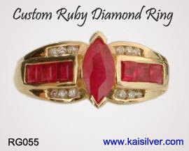 ruby diamond antique style ring