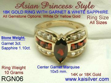 Yellow gold and white gold Garnet gemstone ring